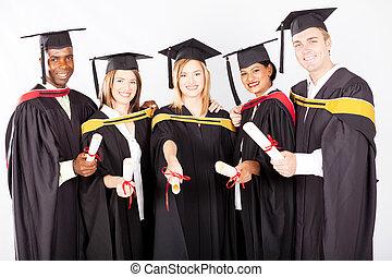 groep, van, multicultureel, universiteit, afgestudeerdeen