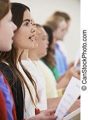 groep, van, onderricht kinderen, het zingen, in, zanggroep, samen