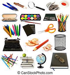 groep, van, opleiding, thema, voorwerpen