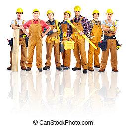 groep, van, professioneel, industriebedrijven, workers.