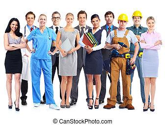groep, van, professioneel, workers.