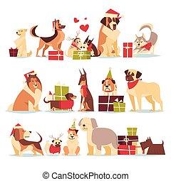 groep, van, schattig, honden, in, kerstman, hoedjes, symbool, van, 2018, jaarwisseling, en, kerstmis, feestdagen, vrijstaand, op wit, achtergrond