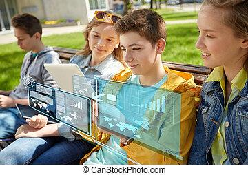 groep, van, scholieren, met, tablet pc, op, school yard