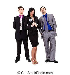 groep, van, sexy, zakenlui