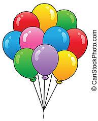groep, van, spotprent, ballons, 1