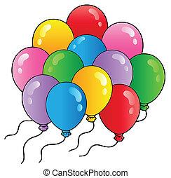 groep, van, spotprent, ballons, 2
