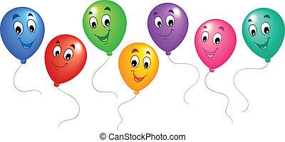 groep, van, spotprent, ballons, 3