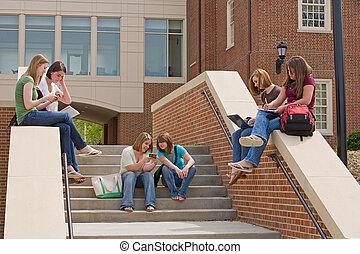 groep, van, universiteit, meiden