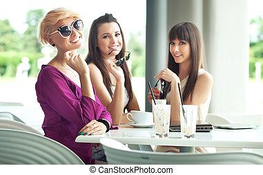 groep, van, vriend, het genieten van, koffie, bre