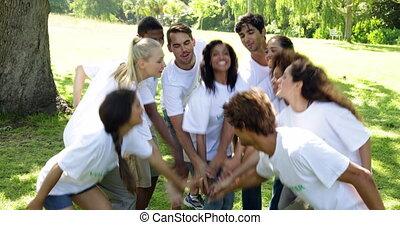 groep, van, vrijwilligers