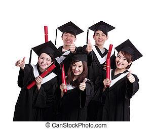 groep, van, vrolijke , afgestudeerdeen, student