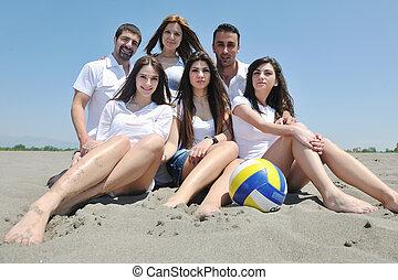 groep, van, vrolijke , jongeren, in, hebben vermaak, op, strand