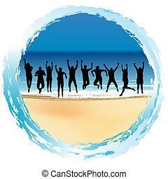 groep, van, vrolijke , mensen het springen, op, de, kust