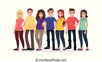 groep, van, vrolijke , mensen in, vrijetijdskleding, op, een, witte , achtergrond.