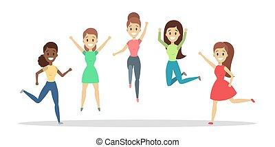 groep, van, vrolijke , mensen, jumping., viering, en, vreugde