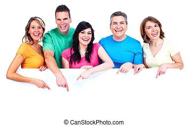 groep, van, vrolijke , mensen, met, banner.