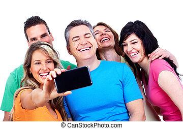 groep, van, vrolijke , mensen, met, een, smartphone.