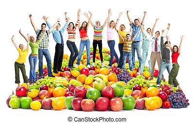 groep, van, vrolijke , mensen, met, fruits.