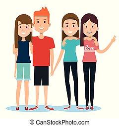 groep, van, vrolijke , mensen, vrienden, samen, in, vrijetijdskleding, op, een, witte achtergrond