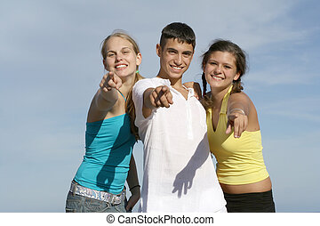 groep, van, vrolijke , tieners