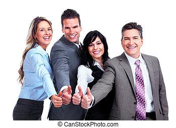 groep, van, zakelijk, mensen., success.