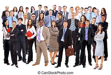 groep, van, zakelijk, mensen., vrijstaand, op, witte...