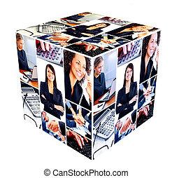 groep van zakenmensen, collage.