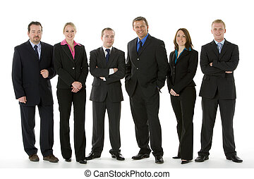 groep van zakenmensen, staan in een lijn