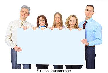 groep van zakenmensen, vasthouden, een, spandoek, advertentie, vrijstaand, op wit