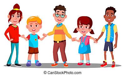 groep, vasthouden, american., vrijstaand, illustratie, multiracial., samen, vector., handen, afro, kinderen, europeaan