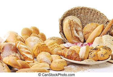groep, voedingsmiddelen, vers brood
