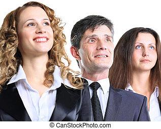 groep, vriendelijk, zakelijk, met, vrolijke , vrouwlijk, leider, het kijken, terzijde, privately, en, op, om te, een, feitelijk, buitenreclame
