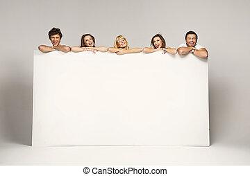 groep, vrienden, plakkaat, witte , het tonen, blij, vrolijke...