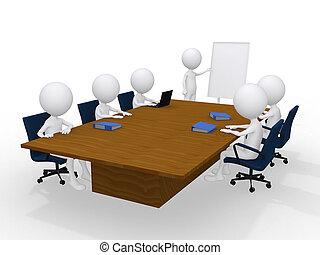 groep, vrijstaand, personen, witte , vergadering, 3d