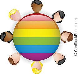 groep, vrolijk, menigte, lgbt, vlag, pictogram
