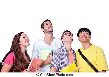 groep, vrolijke , opkijken, scholieren
