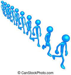 groep, wandelende, in een lijn