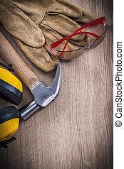 groep, werkende , gereedschap, op, veiligheid, afsluiten, hamer, aanzicht