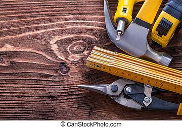 groep, werkende , hout, gevarieerd, plank, concep, bouwsector, gereedschap