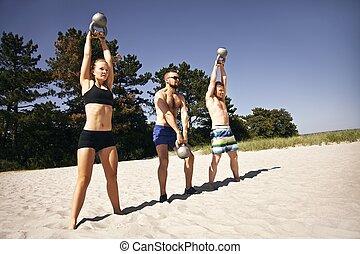 groep, werkende , klok, atleten, ketel, strand, uit