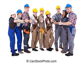 groep, werklieden, het opgeven, anders, duimen