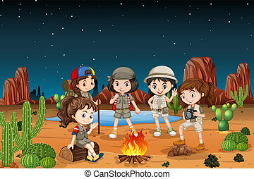 groep, woestijn, kamperen, kinderen