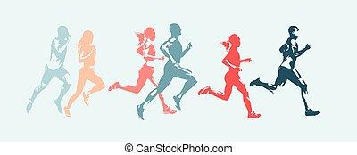groep, women., mensen, mannen, vrijstaand, rennende , vector, silhouettes, marathon, run.