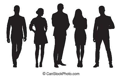 groep, work., zakenlui, mannen, vrijstaand, silhouettes, vector, vrouwen
