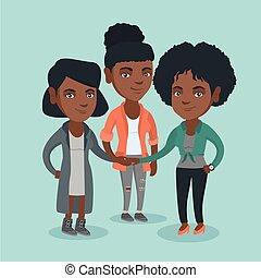 groep, zakelijk, afrikaan, vrouwen, hands., aansluiting