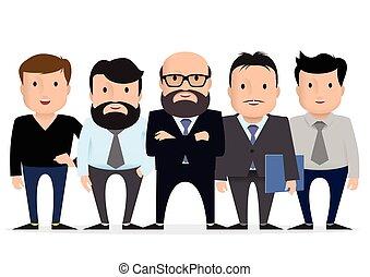 groep, zakelijk, character., -, team, zakenman