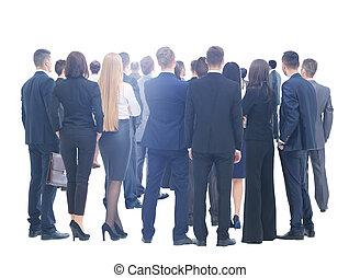 groep, zakelijk, mensen., groot, achtergrond, witte , op
