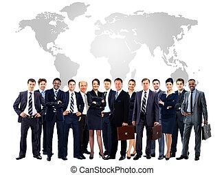 groep, zakelijk, mensen., vrijstaand, groot, witte , op