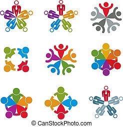 groep, zakelijk, set, sociaal, teamwork, team, vriendschap, pictogram