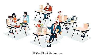 groep, zakenkantoor, mensen, teamwork, werkplaats, team